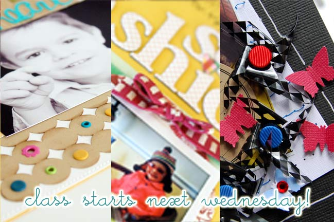 pages from a new online scrapbooking class