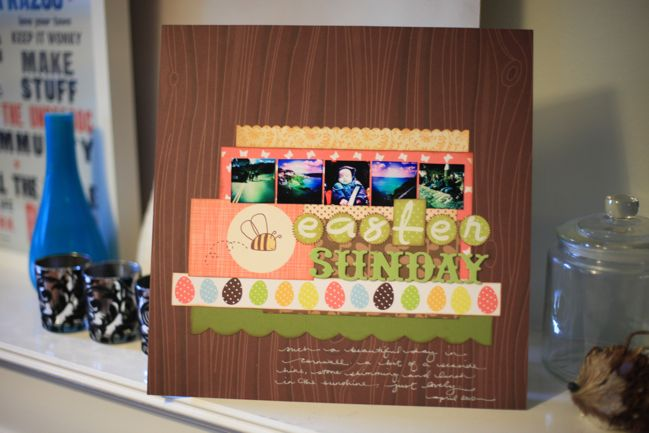 scrapbook page with stamped title