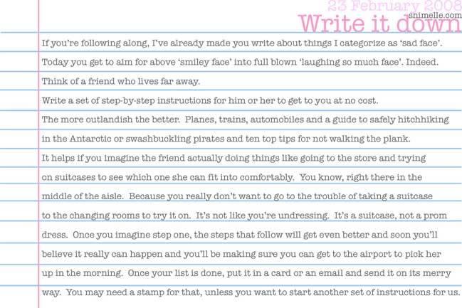 free write it down journalling prompt