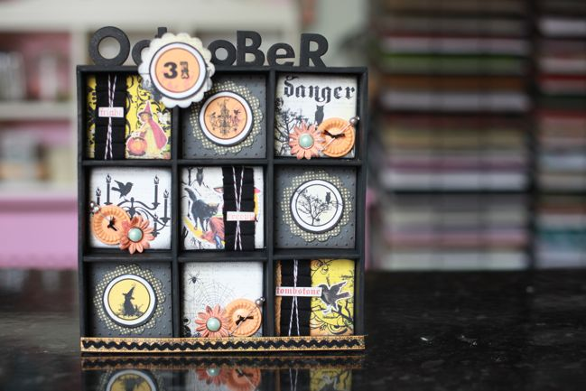 hybrid scrapbooking project - halloween shadowbox