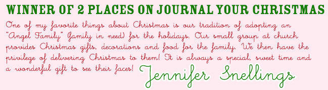 Winner of Journal your Christmas Online Class