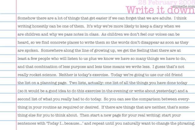 free write it down journalling promt