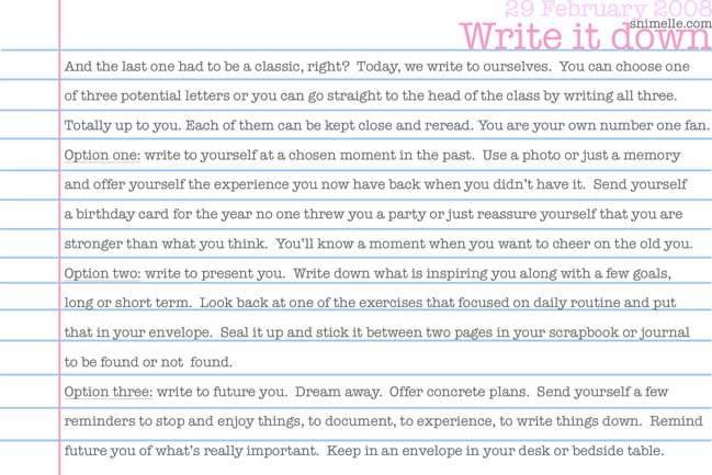 Write it down journalling prompt