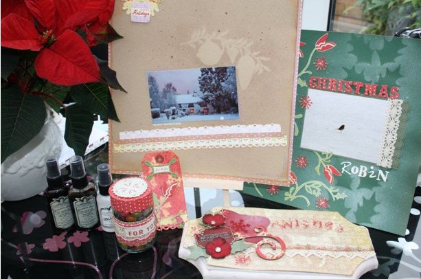 scrapbook pages with glimmer mist