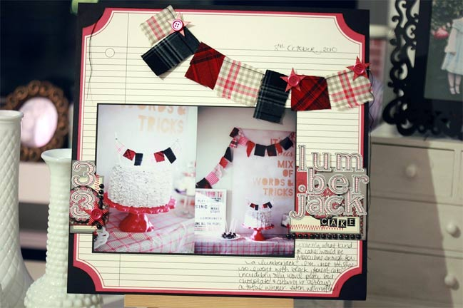 scrapbook page with fabric bunting