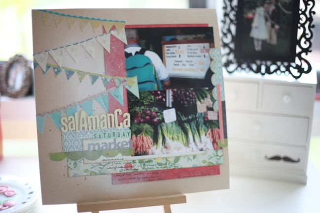 scrapbook page with bunting stickers