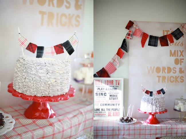 ruffle cake with bunting