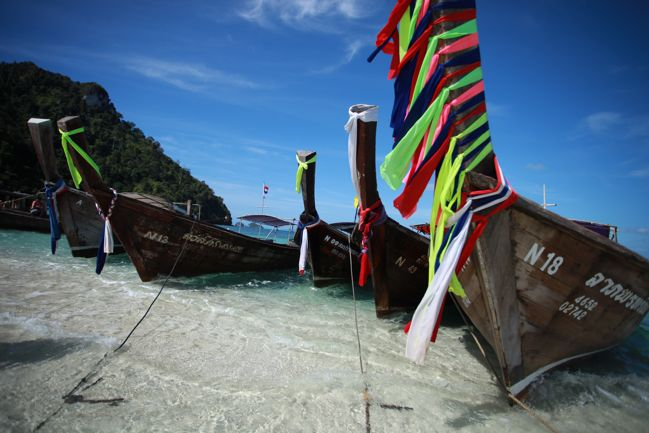 longtail boats in ao nang thailand