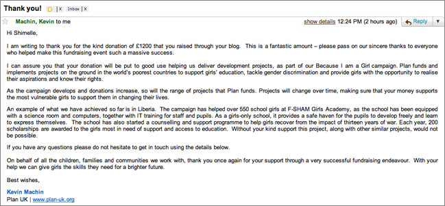 email from Plan-UK girls' fund