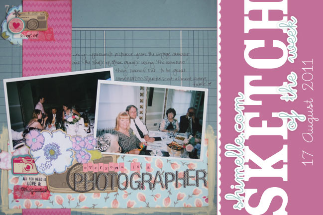 scrapbooking sketch and scrapbook page