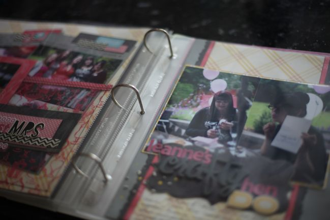 scrapbook pages in an album