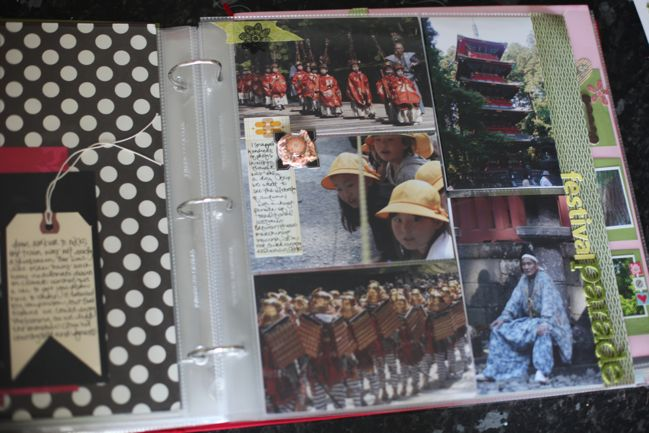scrapbook page with divided page protectors