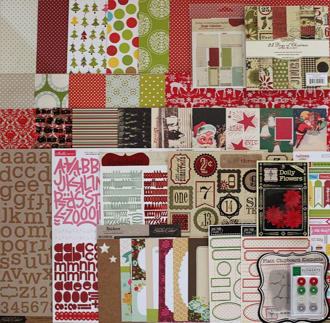 Christmas in a Box scrapbooking supplies - Full Kit