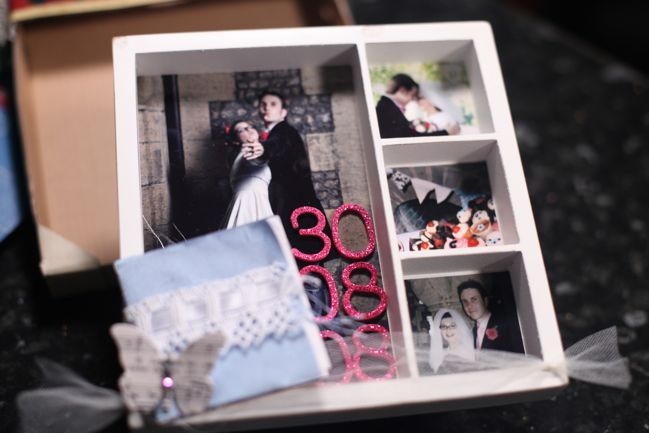 scrapbooking shadow box with wedding memorabilia