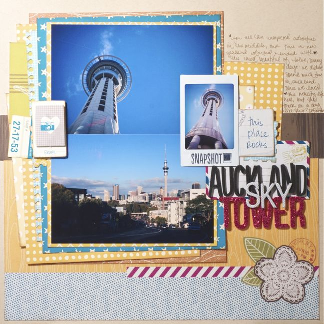 scrapbook page with instax photos