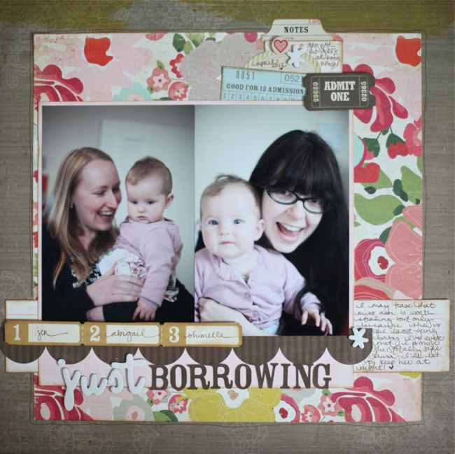 scrapbook page with crate papers
