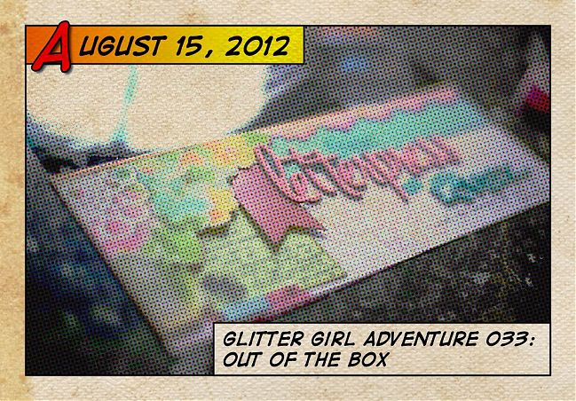 Glitter Girl and scrapbooking supplies, out of the box