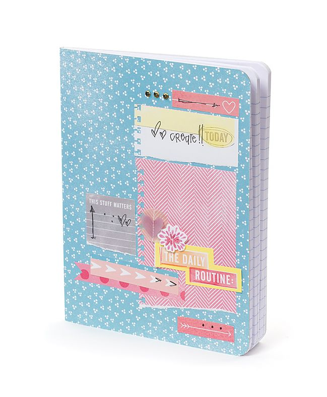 notebook decorated with scrapbooking supplies from the amy tangerine yes, please collection by american crafts