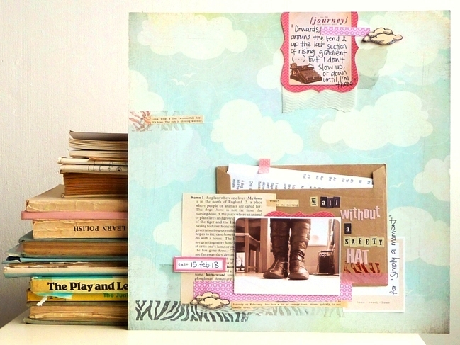 scrapbooking with old book pages by Julie Kirk @ shimelle.com