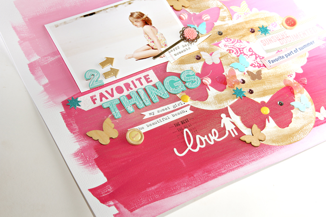 weekly challenge: paint your scrapbook page // layout by corrie jones