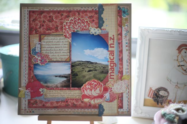 weekly challenge: paint the edge of the page // scrapbook page by shimelle laine
