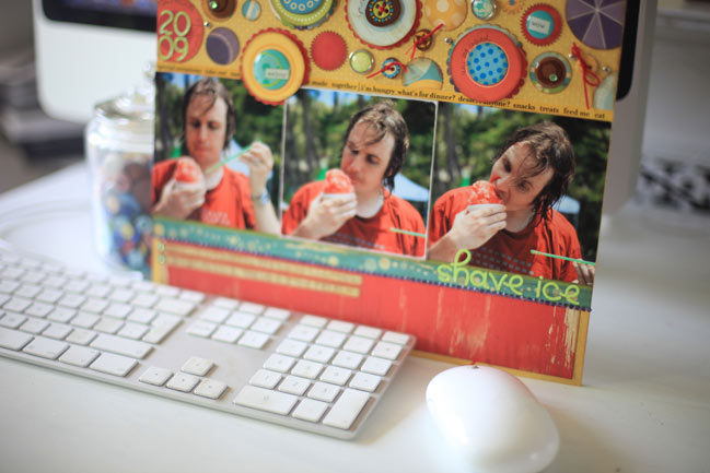 scrapbook page and happy computer