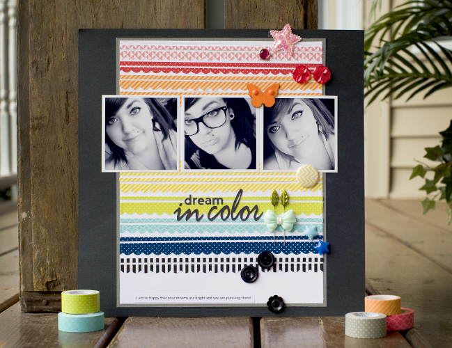 weekly challenge: take inspiration from a colourful border // scrapbook page by Tegan Skwiat