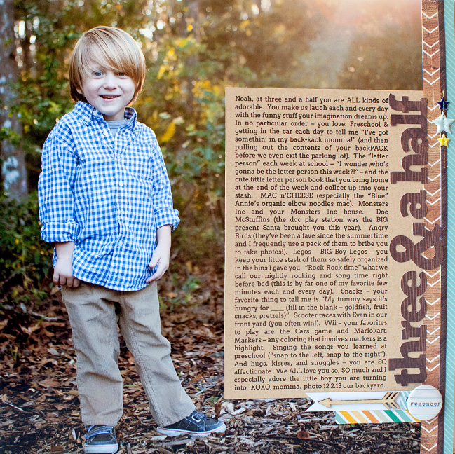scrapbook page designs for larger photos by susan wenroith @ shimelle.com