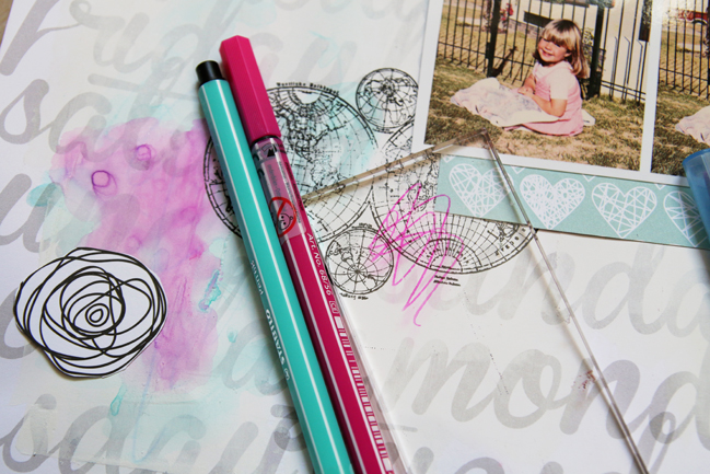 watercolour effects with stabilo pens:: a scrapbooking tutorial by lilith eeckels @ shimelle.com