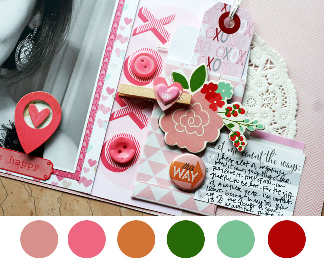 scrapbooking colour schemes with pink by stephanie howell @ shimelle.com