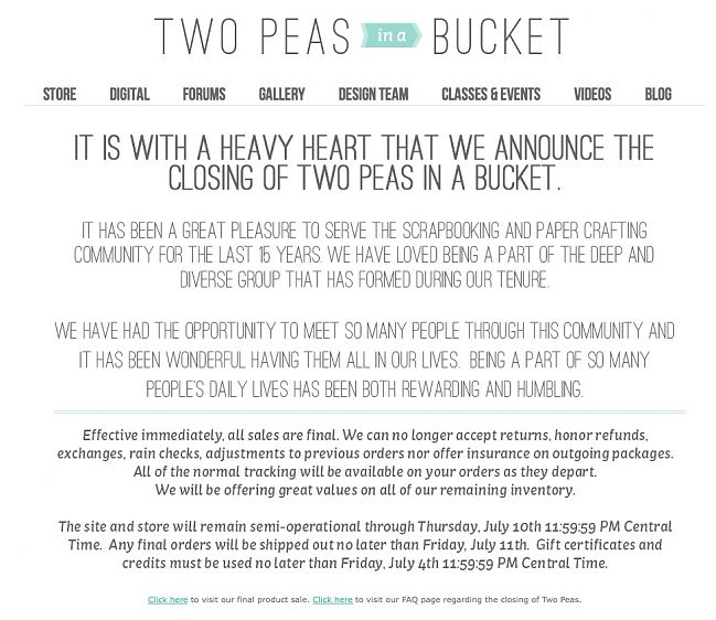 two peas is closing