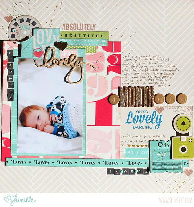 scrapbook page with the Shimelle collection by American Crafts