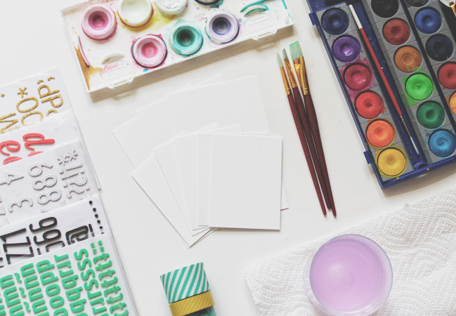 using thickers as masks with watercolours:: a scrapbooking tutorial by carson riutta @ shimelle.com