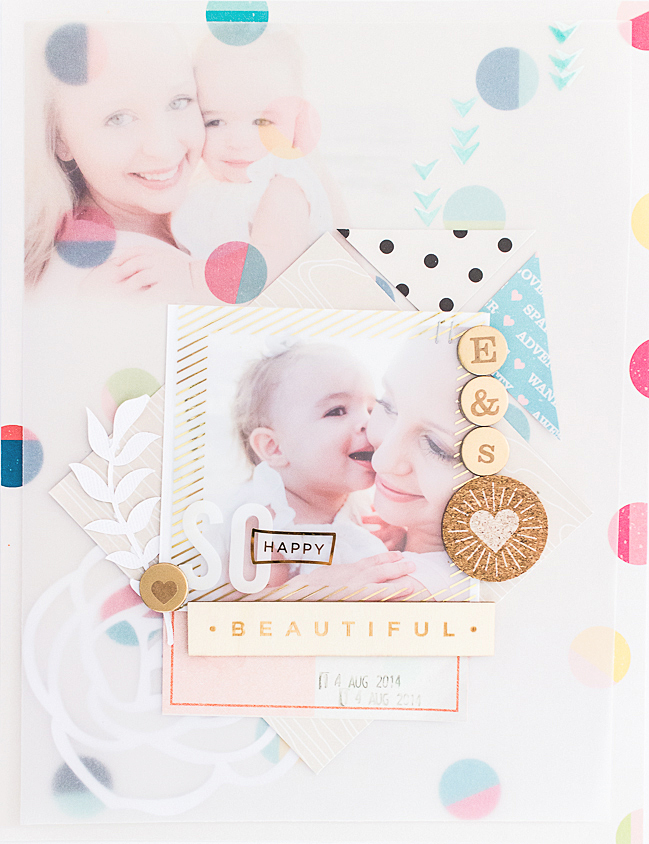 a vellum photo layout with the shimelle collection: a scrapbooking tutorial by erin stewart @ shimelle.com