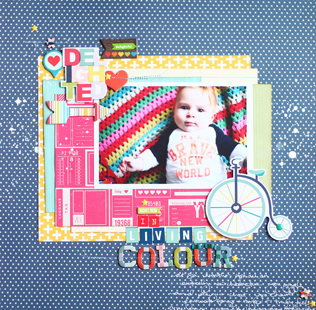 bright and bold colour story // scrapbook page by Shimelle Laine