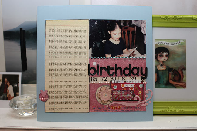 scrapbook page with Cosmo Cricket