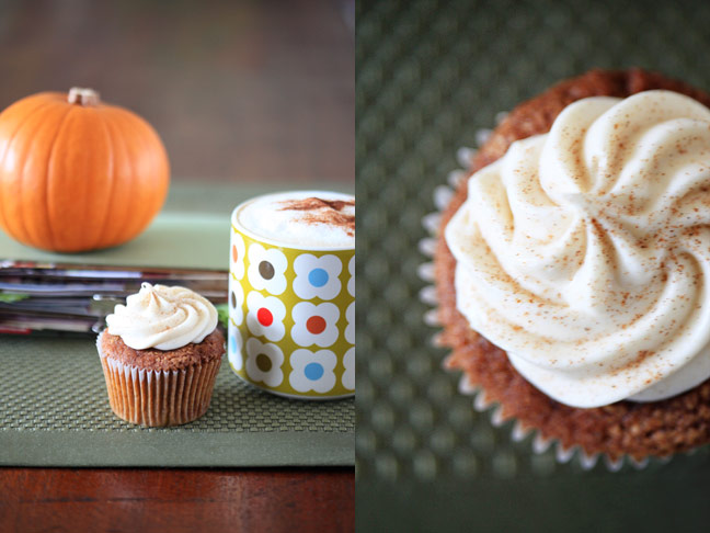 pumpkin cupcakes with scrapbook