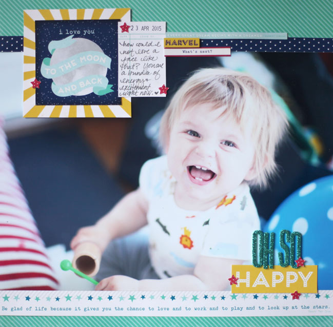 scrapbook page made with the Starshine collection from Shimelle & American Crafts @ shimelle.com