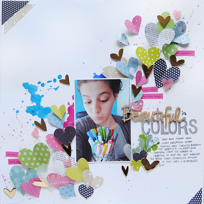 a scrapbooking colour story of blues, greens, and rose with zinia amoiridou @ shimelle.com