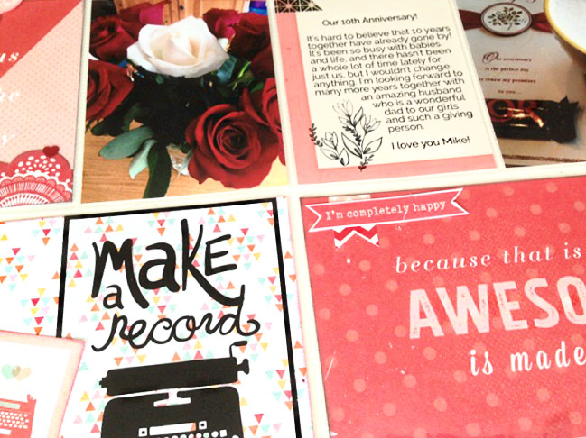 scrapbooking with pink AND red - page by Karla Yungwirth @ shimelle.com
