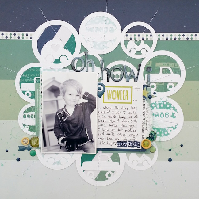 weekly challenge: go monochromatic on your next scrapbook page @ shimelle.com // layout by Zsoka Marko