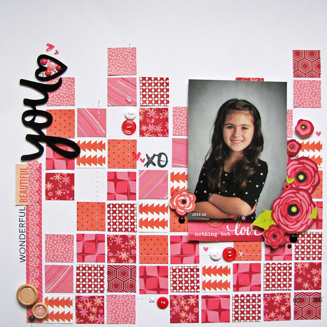 weekly challenge: go monochromatic on your next scrapbook page @ shimelle.com // layout by Nicole Nowosad
