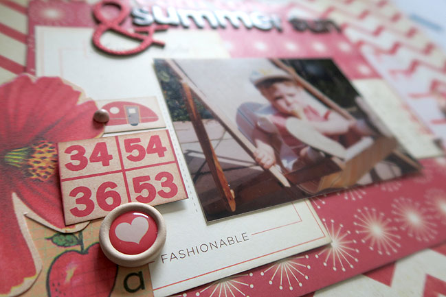 Scrapbooking older photos with a monochromatic colour scheme by Shimelle Laine