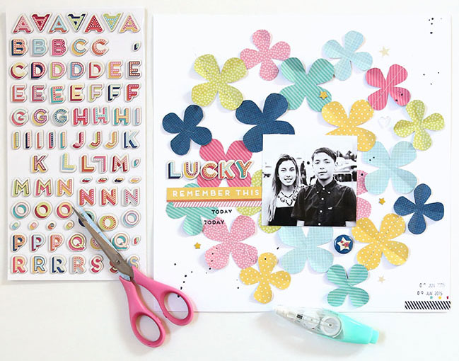 Repeat a shape on your scrapbook page // layout by Gina Lideros