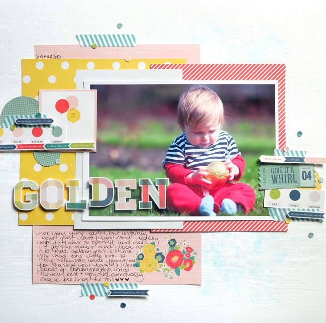 Glitter Girl takes on scrapbooking with minimal supplies // layout by shimelle laine