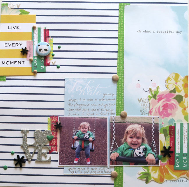 Glitter Girl scrapbooks boy photos with floral papers // layout by shimelle laine