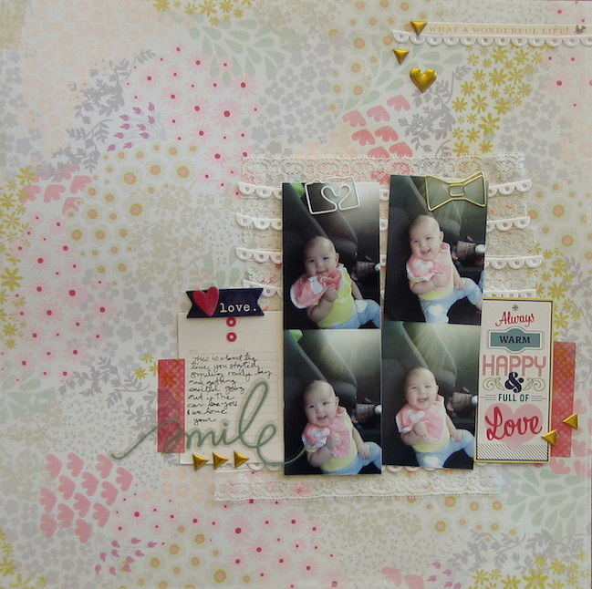Scrapbooking with fabric and lace // scrapbook page by karla der