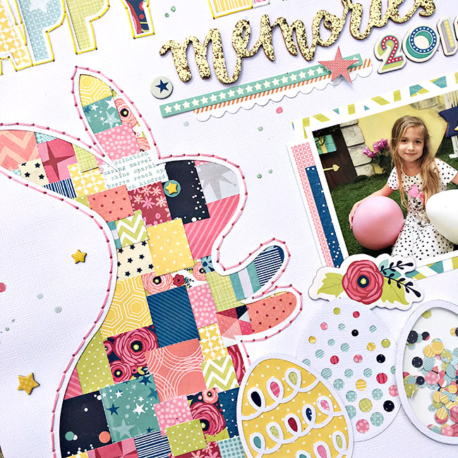 Easter Scrapbooking with Starshine and some clever cutting // layout by Heather Leopard