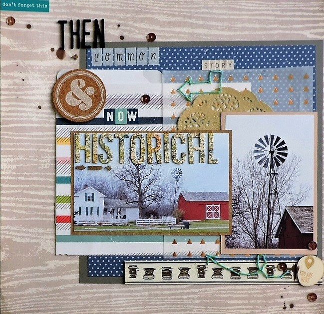 weekly challenge: scrapbook using arrows // scrapbook page by Mandi Holmes