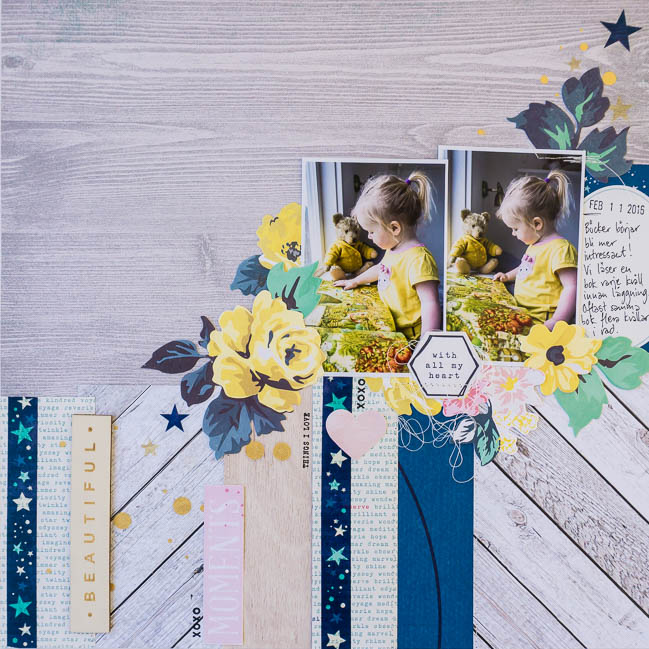 Scrapbooking with woodgrain patterns // scrapbook page by Ida Rosberg